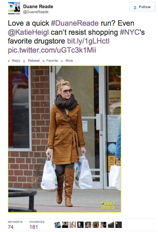 Katherine Heigl Sues Duane Reade for Tweeting Photos of Her Walking Out of Their Shop