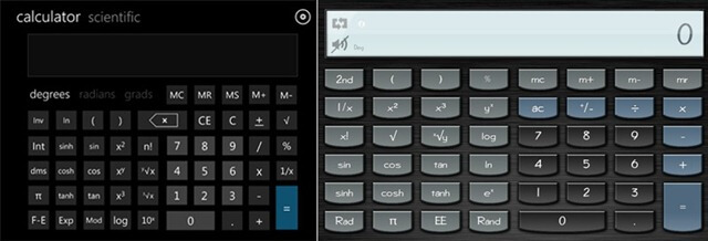 Flat and Skeuomorphic calculators