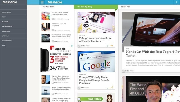 Mashable - Infinite Scroll