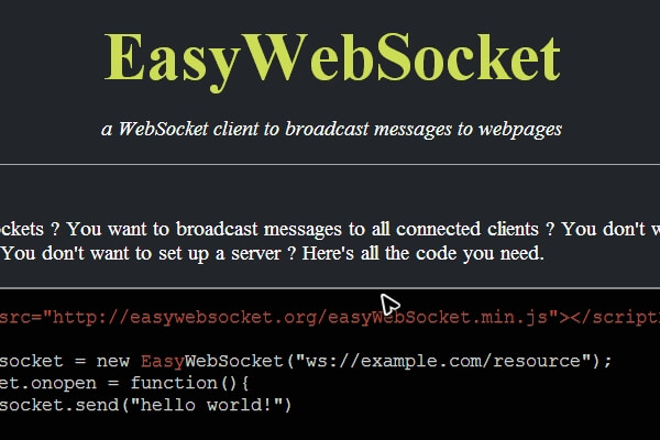 EasyWebSocket – a WebSocket client to broadcast messages to webpages