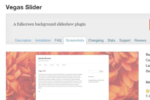 Vegas Slider, Background Slideshow Plugin For WordPress