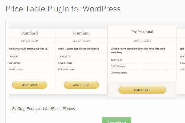 Wordpress pricing table bypeople 9 submissions for Table design wordpress plugin