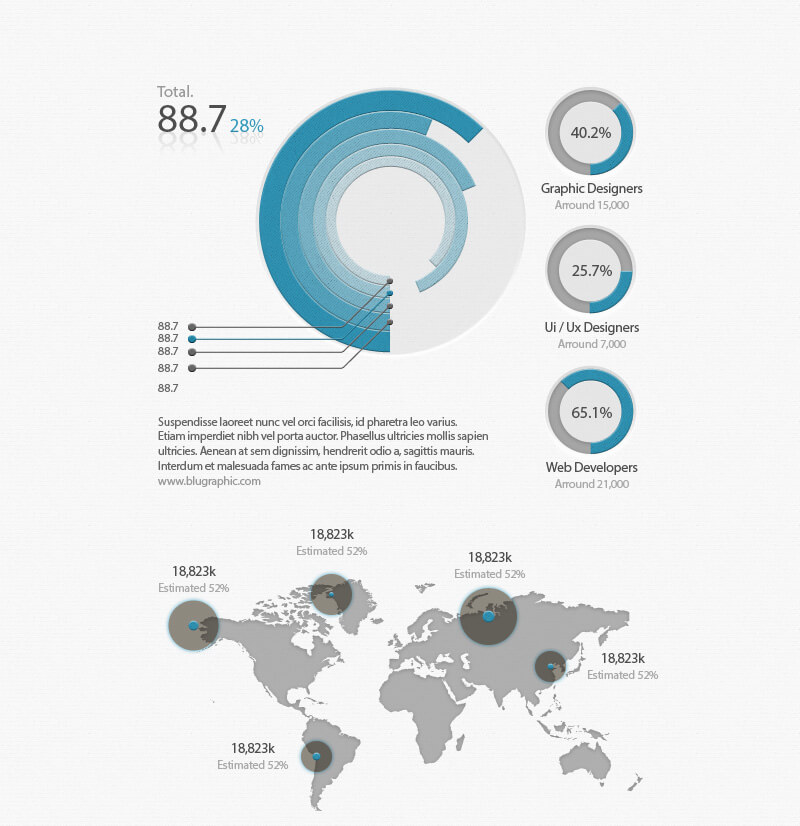 Psd corporate infographics elements bypeople this resource comes in the form of an editable psd containing pie charts bar charts a world map and more the drawback is that the layers are unorganised gumiabroncs Image collections