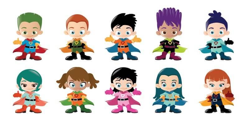 Superhero Kids: a Vector Illustration Pack - ByPeople