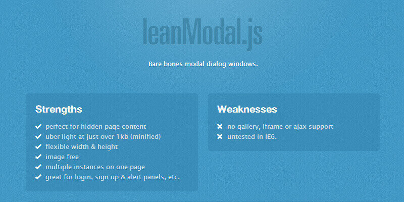 LeanModal, A JQuery Modal Plugin | Bypeople
