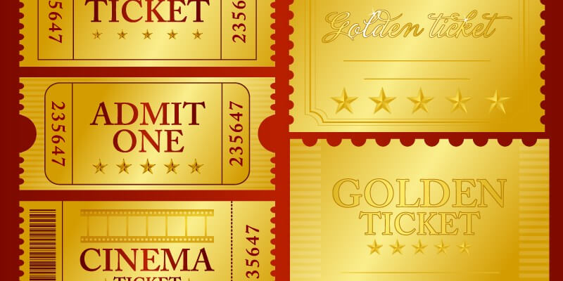 vector golden ticket design elements