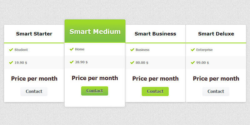 Css pricing table bypeople 19 submissions for Beautiful table css