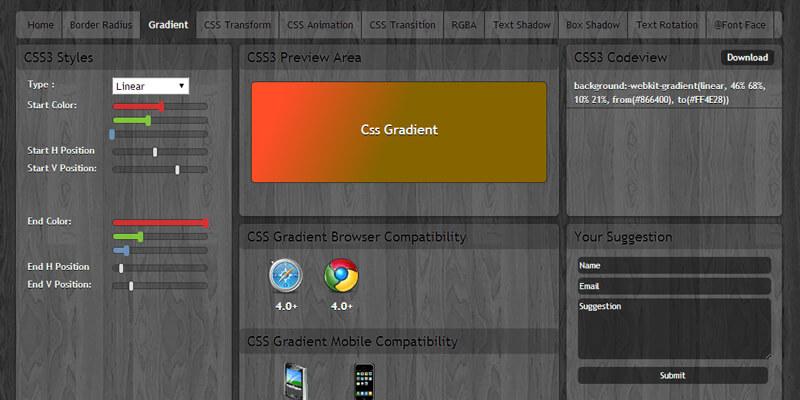 Css3 Maker Visual Gradient Generator Bypeople