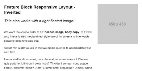 feature block responsive layout pattern