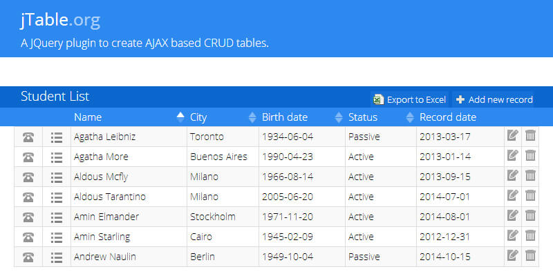 Jquery hide table phpsourcecode net for Hide table th jquery
