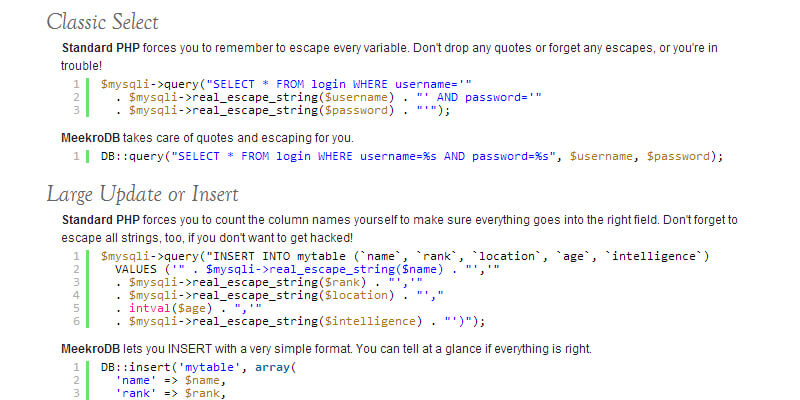MeekroDB: Simple PHP MySQL Library | Bypeople