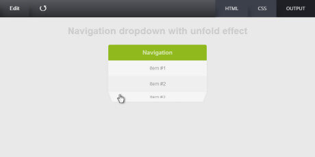 navigation dropdown with unfold effect cssdeck