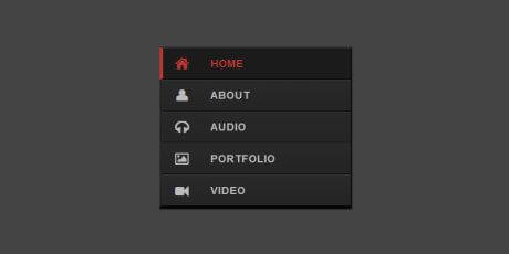 responsive black red css navigation menu