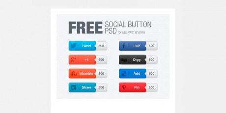 free psd social button set