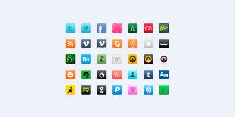 minimal psd social icons