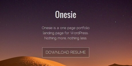 onesie one page portfolio wordpress theme
