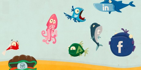 social fish illustrated icons psd