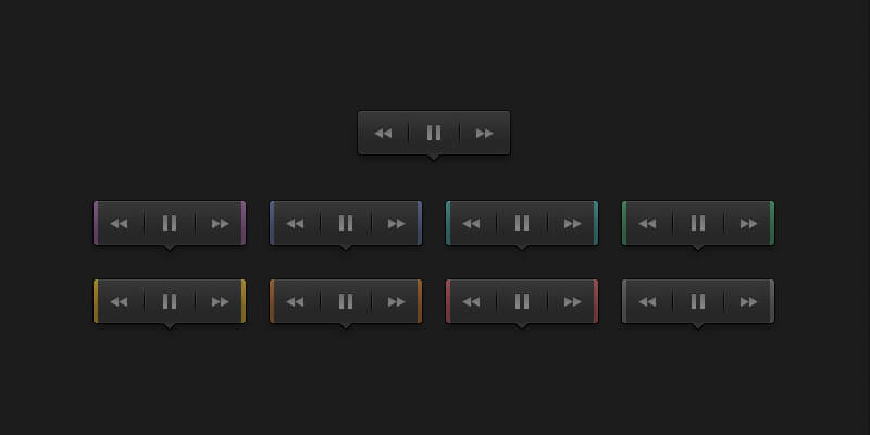 Dark Audio Buttons PSD Tooltip | Bypeople
