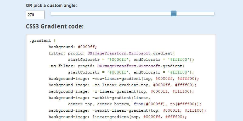 CSS3 Gradient Code Generator Tool   Bypeople