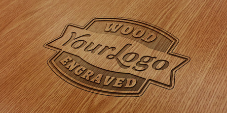 free engraved psd wooden effect