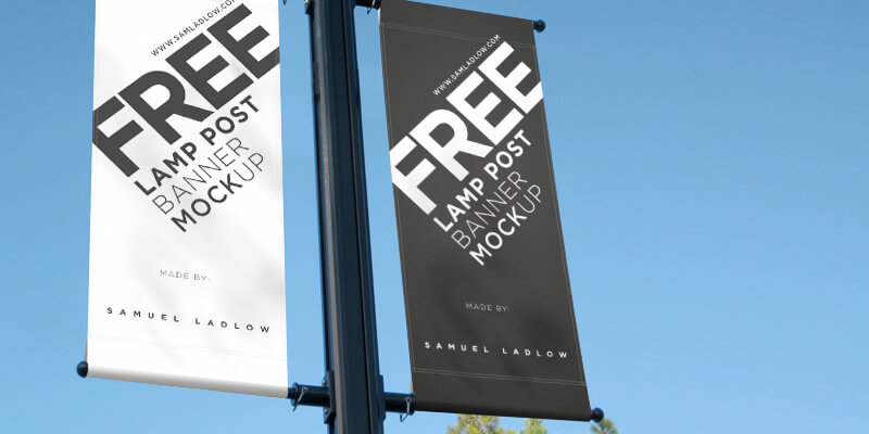 Free Lamp Post Banner Mockup Bypeople