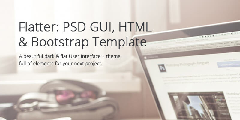 Flatter: Free PSD GUI + HTML & Bootstrap Template | Bypeople