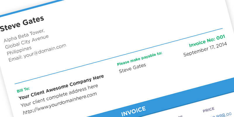14 11 2014 A Flat Template For An Invoice Made In PSD