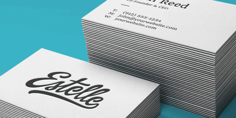 Stack letterpress business cards psd mockup bypeople reheart Image collections