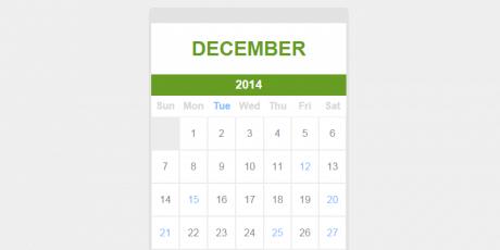 flat jquery events calendar snippet