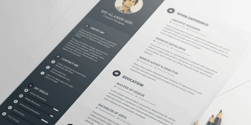 A Template For A Resume Made In PSD And Totally Free To Download. Perfect  For Freelancers, It Highlights Your Experience, Keeping The Right Part Fo.