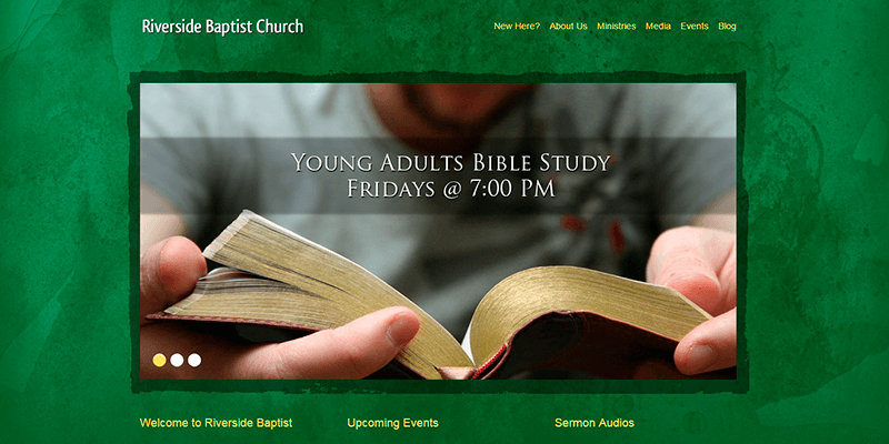 green grunge church wordpress theme