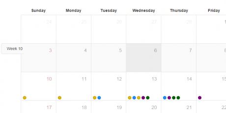 event driven js css calendar