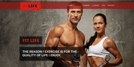 fitness one page psd template