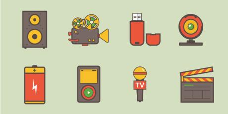 flat sketch mini icon set