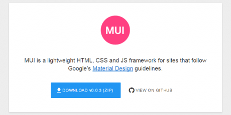 material design html js and css framework