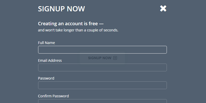 Overlay JavaScript CSS Signup Form