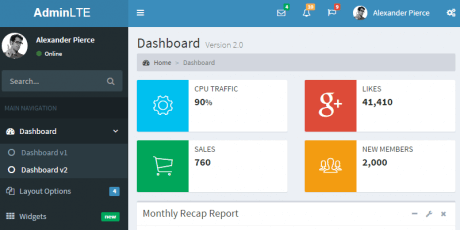 dashboard control panel css template