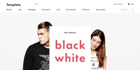 free black white psd shop template