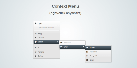 html css js context menu snippet