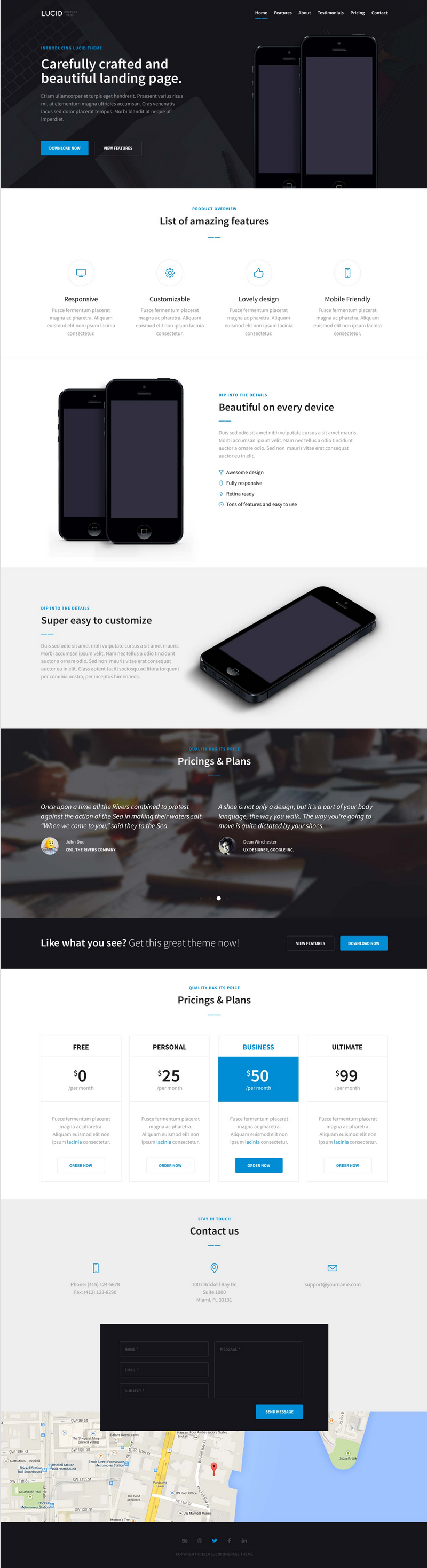 lucid free bootstrap landing page template bypeople
