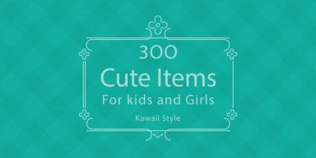 flat kawaii icons avatars set