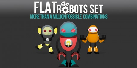 flat robot characters set