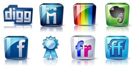 high detail social icons set