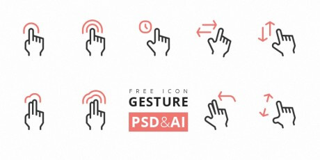 touch gesture psd  ai icons set
