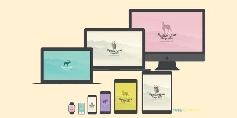 Flat PSD & Sketch Apple Mockups Set   Bypeople