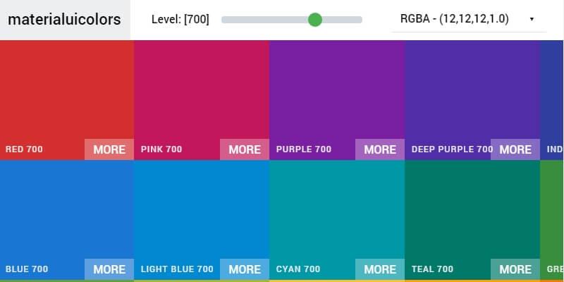 Material Design UI Color Palette