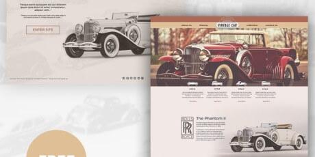 retro car psd web template