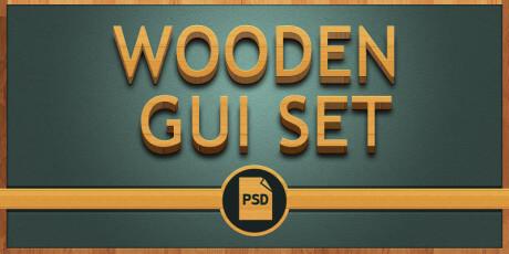 wooden style psd gui set