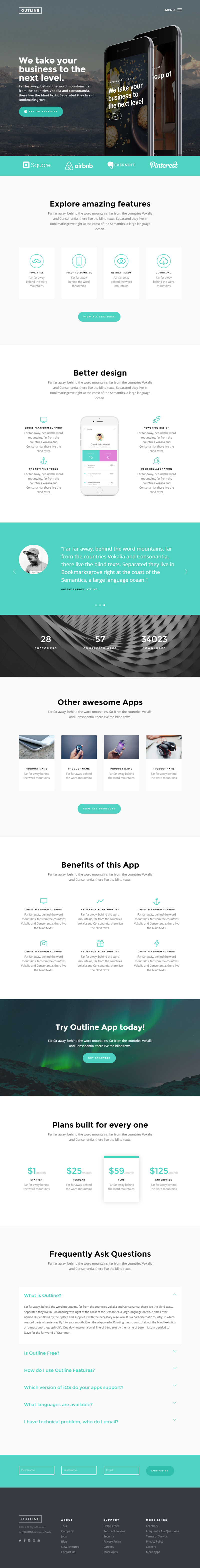Outline: HTML5 One-page Bootstrap Template | Bypeople