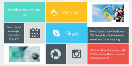 jquery css windows 8 animated grid